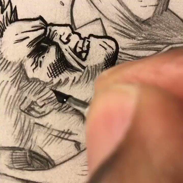Inking away on this Old Man Logan vs Hul...