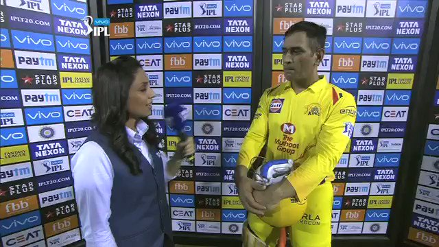 This is post-match presentation gold from MSD - Classic @msdhoni style #VIVOIPL #KXIPvCSK