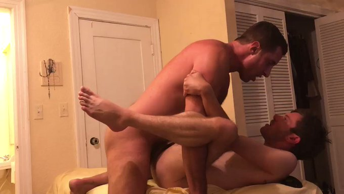 My new pup wanted to see my #cum I aim to please! I Frosted him with a hot load. #raw #bareback #bigdick