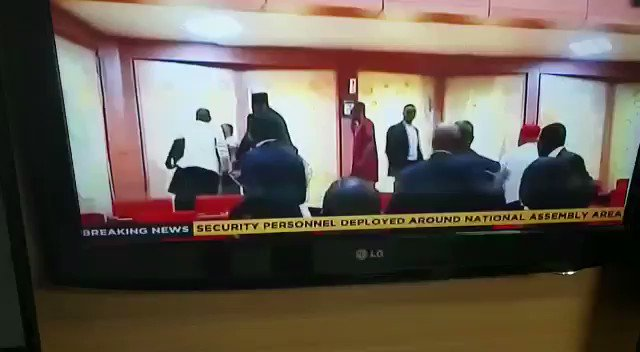 Video of Senator Omo Agege leading ARMED THUGS into the hallowed chamber.