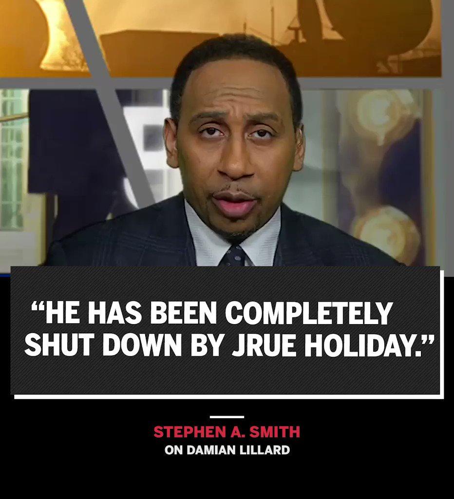 .@stephenasmith applauds Jrue Holiday for shutting down Damian Lillard early in the series.