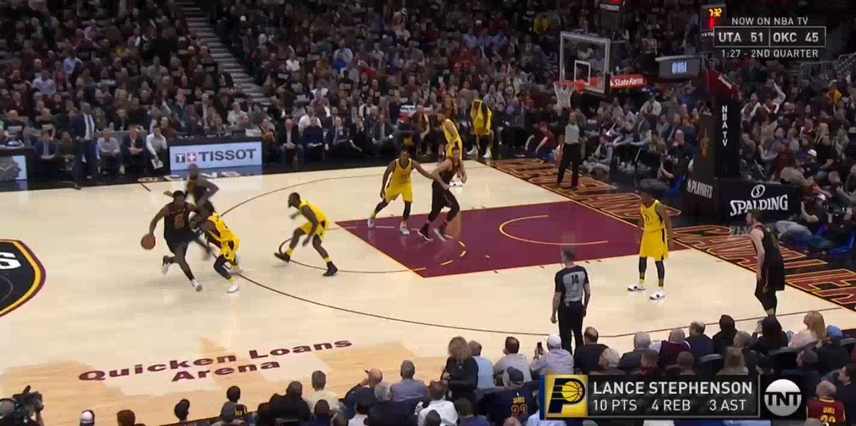 Nate McMillan slips and falls on the sideline vehemently making his case for an offensive foul call on LeBron. CLE back up 10 after James sticks a jumper on the next possession #TwitterNBAShow http://pscp.tv/w/1ynJOAAOMewKR