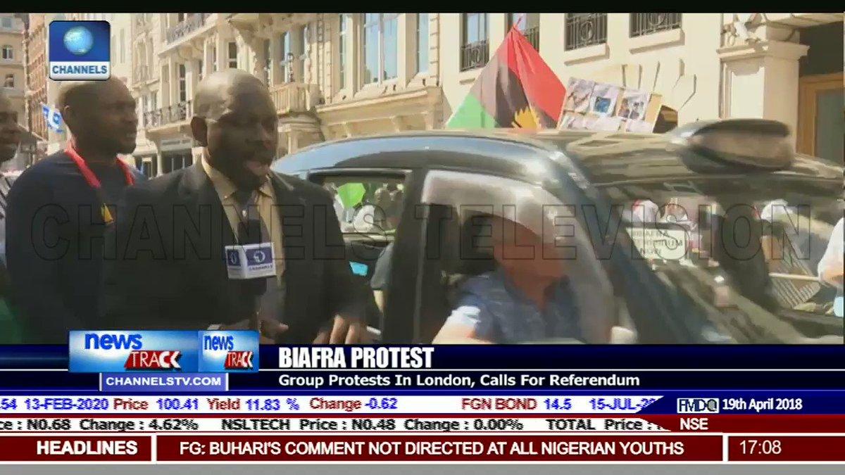 April 19, 2018: The Indigenous People of Biafra (IPOB) Protest Hit #CHOGM2018 #Commonwealth18 Demands: #WhereIsNnamdiKanu #BiafraReferendum #BiafraExit #FreeBiafra #Biafra @RoyalFamily @Commonwealth18 @commonwealthsec @eu_eeas @_AfricanUnion @nnamdikanu1 @mefonna @Amaka_Ekwo