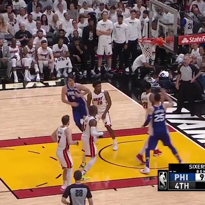 Joel Embiid runs the floor and destroys Goran's layup with his mask off 😤😤😤