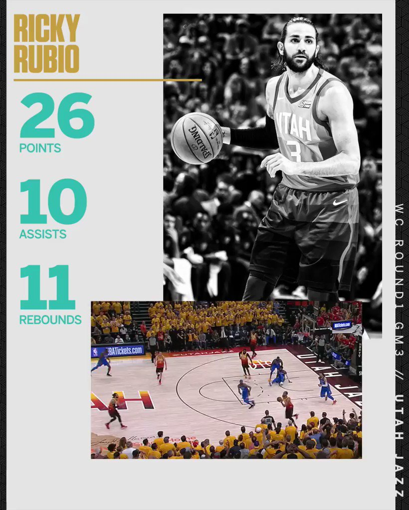Ricky Rubio with the triple-double against the triple-double king �� https://t.co/RmkXLwv881