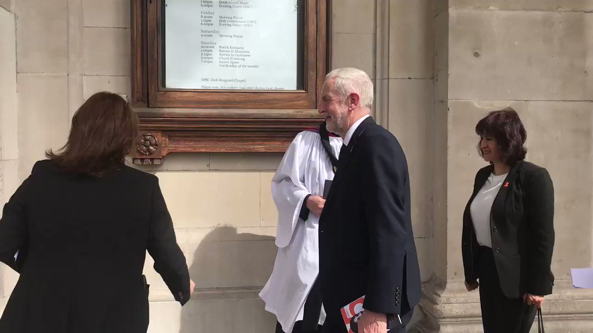 Baroness Lawrence meets @jeremycorbyn outside St Martin-in-the-Fields Church in London for the 25th Anniversary of her son Stephen Lawrence's death @LBC
