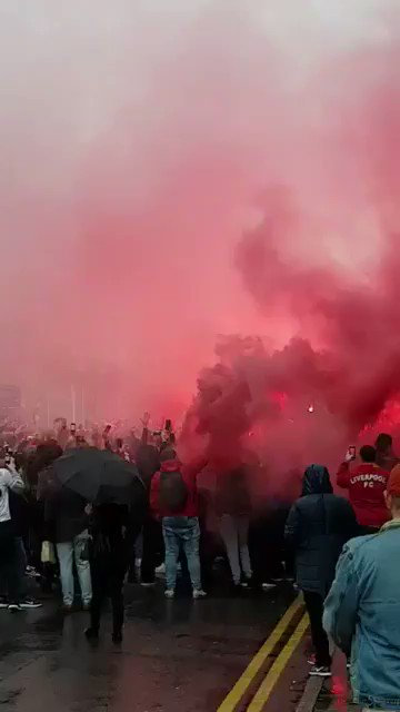 Liverpool fans in the streets prior to tonight's match against Roma