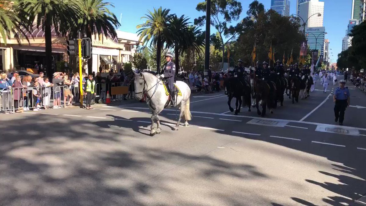 Image for the Tweet beginning: #Anzacday parade under way in