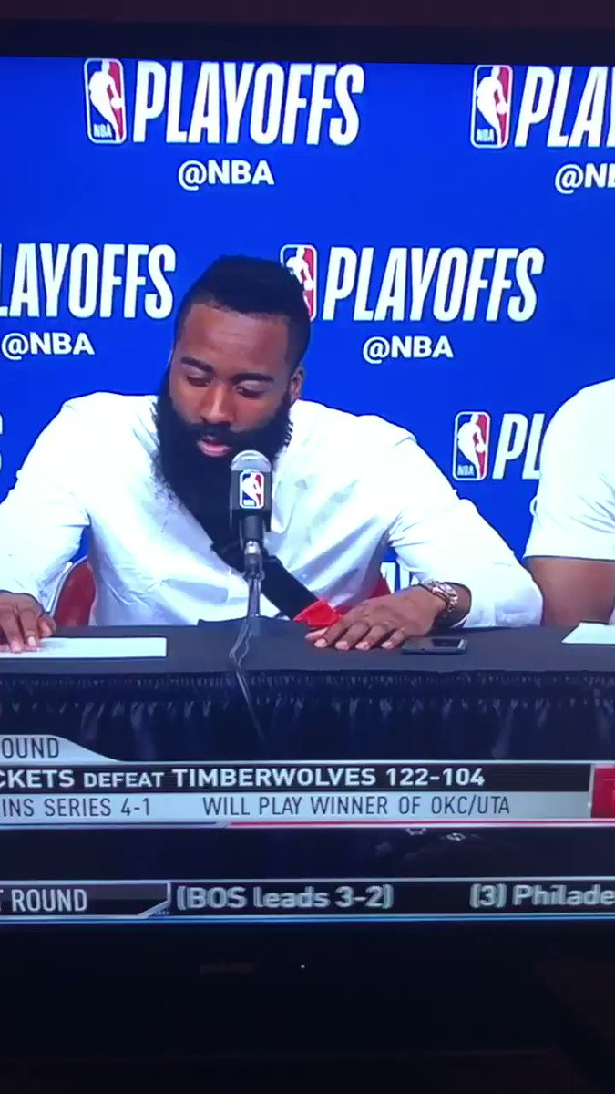 """Capela: """"...from tip to the end...""""  Harden: (quietly) """"pause"""" https://t.co/wZtP8RF28K"""