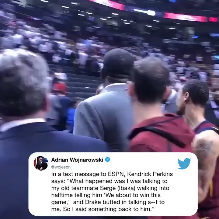 Kendrick Perkins on his postgame words with Drake ⬇️ (🎥: @mcten)