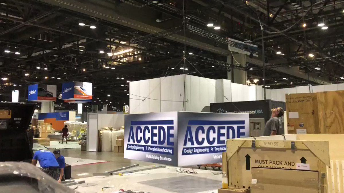 Better than the ball drop in Times Square on New Year's Eve... set-up at the Orange County Convention Center! Visit us starting Monday at the #Plastics Show #NPE2018 in the South Hall booth S10091 🎉