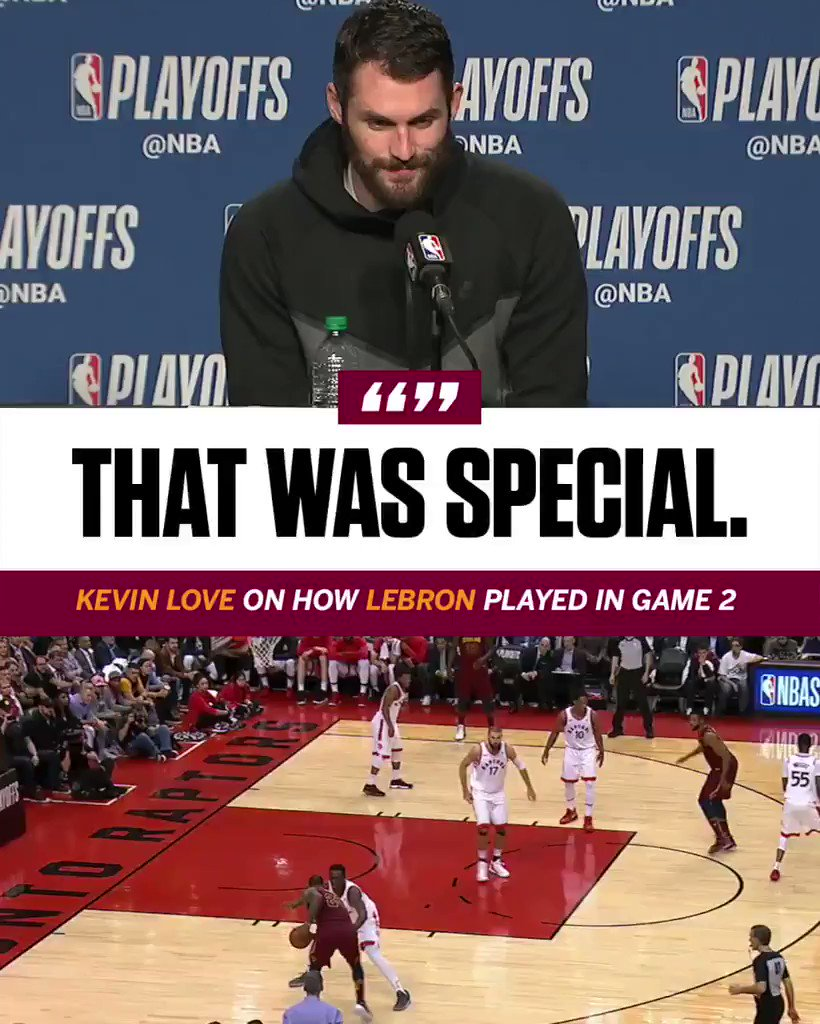 Kevin Love says he's never seen LeBron play at this level in the 4 years they've played together. https://t.co/54vNAMsl8a