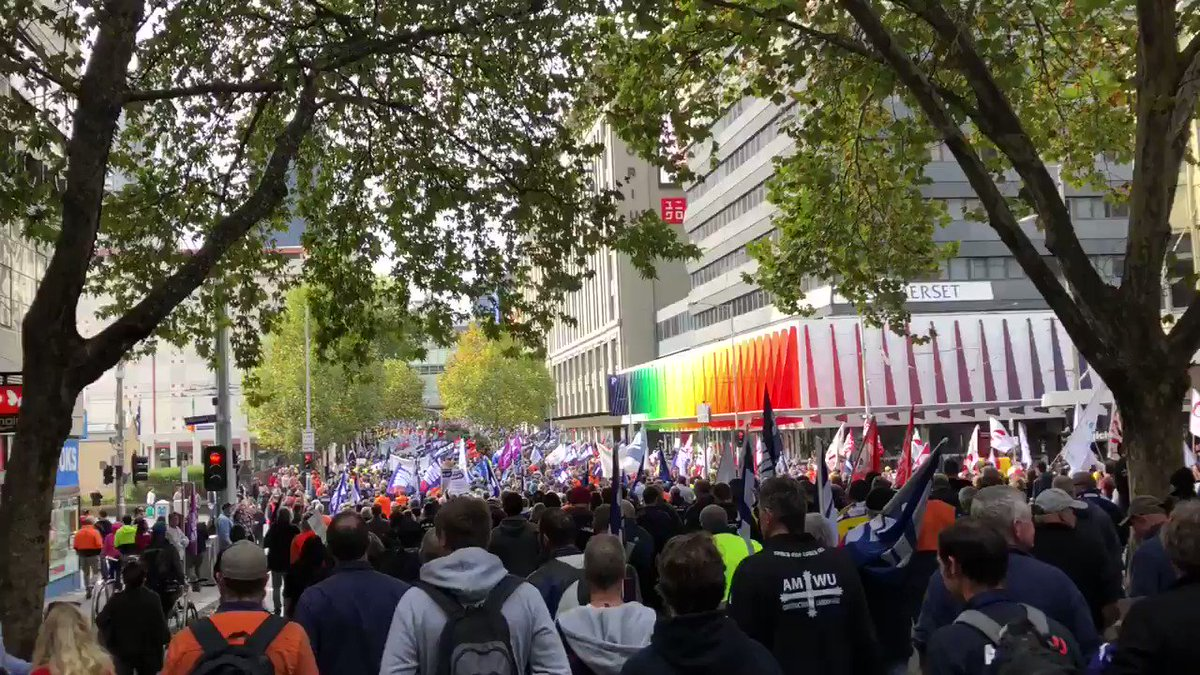 Melbourne CBD shut down as tens of thousands march in union protest