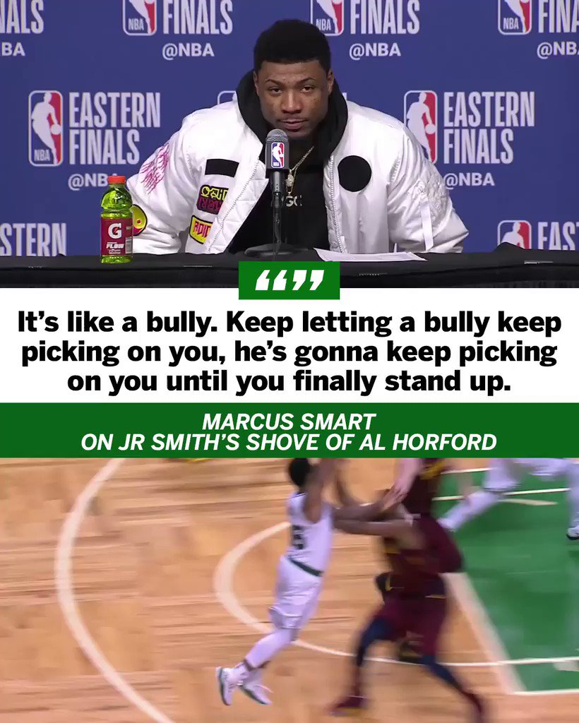Marcus Smart says this isn't the first time JR Smith has played dirty against the Celtics. https://t.co/HYw4TNPX9L