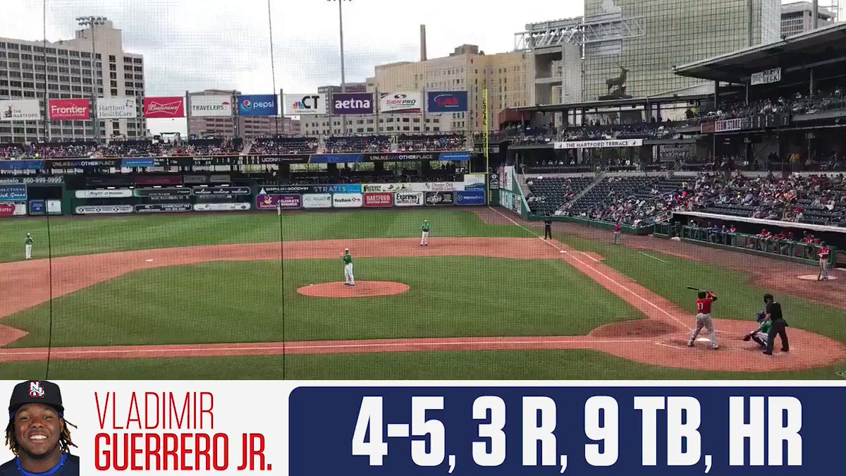 Vladimir Guerrero Jr. had a MONSTER game and he's now batting .415 on the season �� https://t.co/HblrtdiA0s