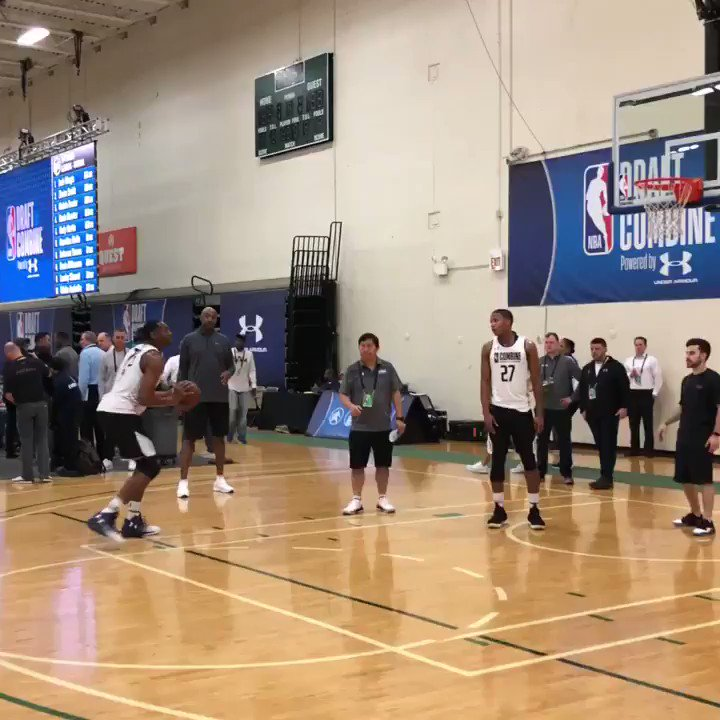 .@__Austinwiley50 (@AuburnMBB) works on his mid-range game ahead of game time! #NBACombine  📺: ESPN 2