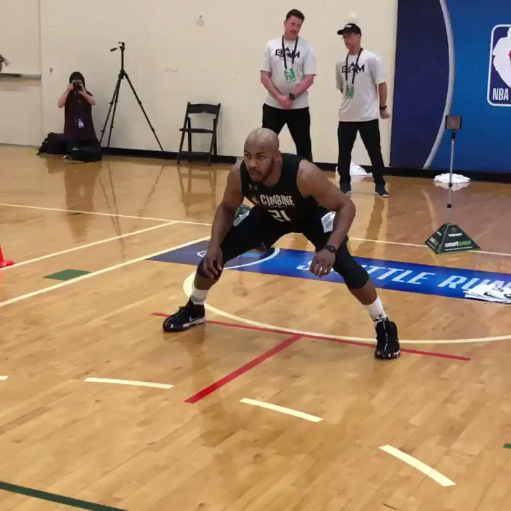 2X Big 12 Defensive Player of the Year.  Jevon Carter (@WVUhoops) was LOCKED IN for his Shuttle Run at #NBACombine.  📺: ESPN 2