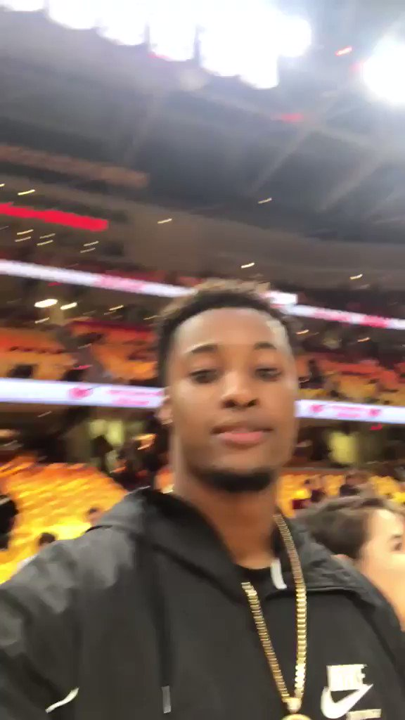 The Land has some new faces. @bakermayfield and @denzelward are in the house for Game 4 �� https://t.co/7mvEReqclw