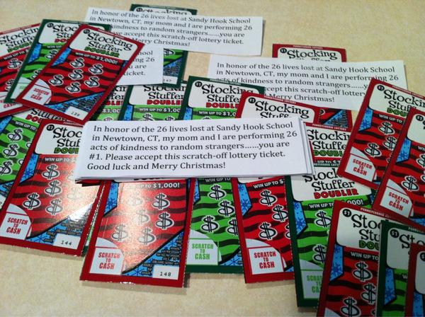 Today my son and I handed out 26 lottery tickets to random strangers #26acts http://pic.twitter.com/boxvZpba