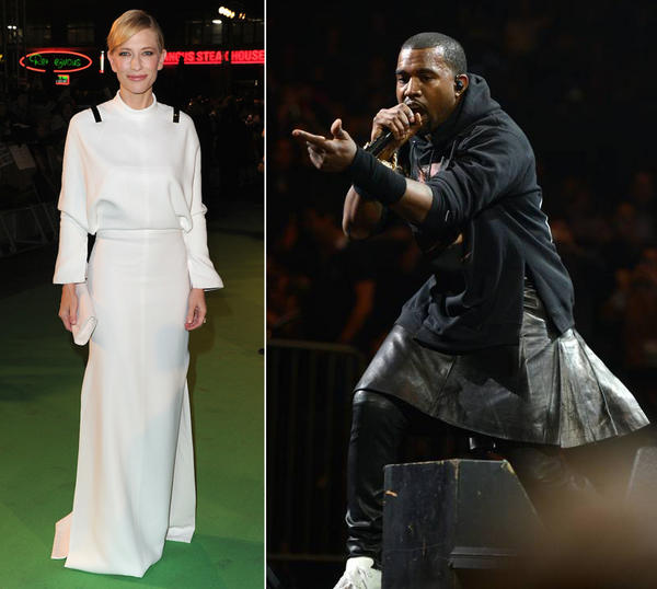 Givenchy had two major moments last night—Cate Blanchett in a white gown & Kanye West in... a skirt. Thoughts? http://pic.twitter.com/JK9m9hki