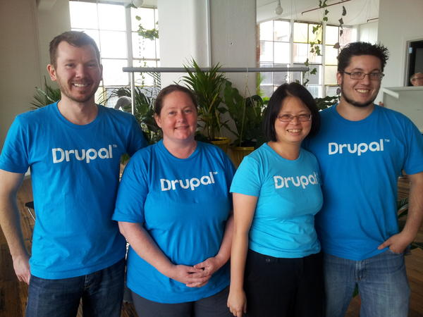 Those of us wearing our @drupalassoc shirts posing to mark the occasion of #learndrupal global training day, Melbourne http://pic.twitter.com/wXDDAAJf