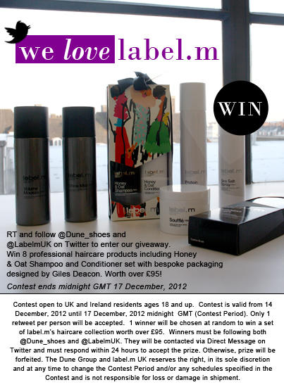 Follow @Dune_Shoes, @LabelmUK & #RTtoWin EIGHT coveted products from Toni&Guy's professional label. #comp ends 17/12 http://t.co/snaPjj9C