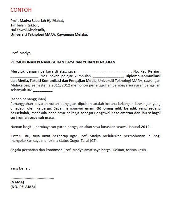 Komed Uitm Melaka On Twitter Quot Contoh Surat Rasmi Permohonan Penangguhan Pembayaran Yuran Http