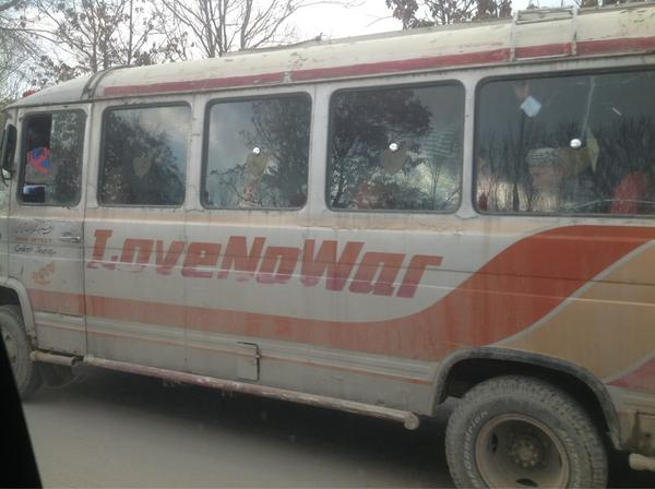 "I really like this message on a public bus in #Kabul - ""Love No War"" - we all want a secure and stable #Afghanistan. pic.twitter.com/e0ytNdsU"