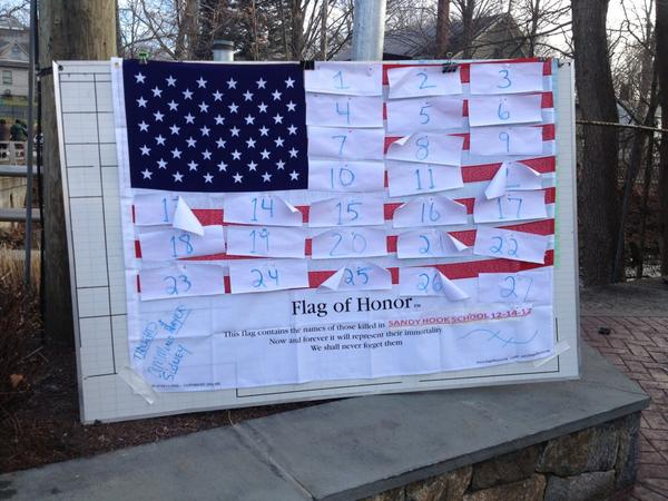 Flag near #Newtown elementary school will soon replace the numbers with names. http://pic.twitter.com/SVMp2TG9