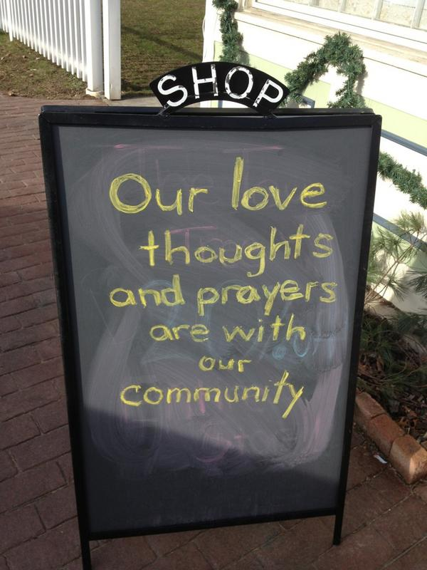 A local #Newtown restaurant erased their day's specials announcement to express condolences for #sandyhook elementary http://pic.twitter.com/JdY991QY