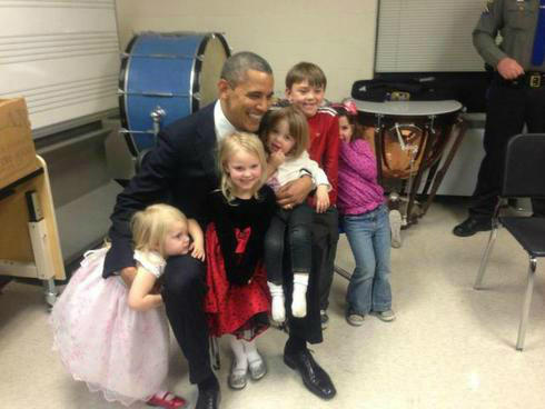 Photo released by the family of Emilie Parker,  6, of President Obama's visit. Image via @WestWingReport.