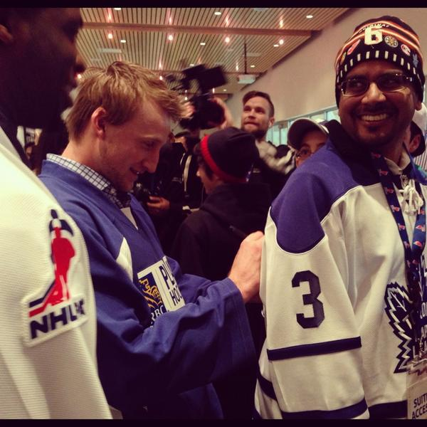 .@PKSubban1 and @RealStamkos91 with a happy fan pre-game. #RBCCharityChallenge http://pic.twitter.com/ptJWziM0