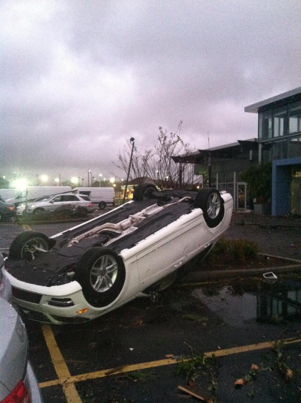 RT @ALcomMobile: RT @TWCMikeBettes Cars flipped by possible #tornado at Mercedes dealership in Mobile, AL. http://pic.twitter.com/8Ffkocyi #alwx