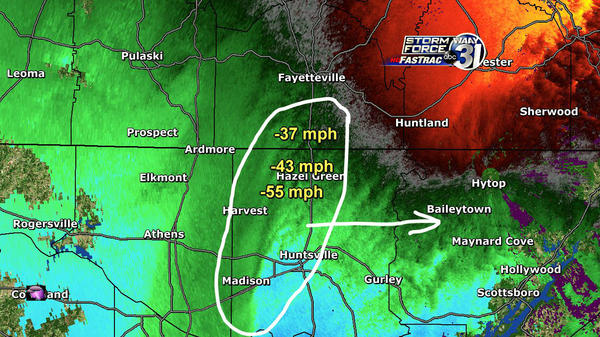 RT @AriWeather: Hytop NEXRAD sees 35-55mph winds at ~ 2000ft.. mixes down to 30-45mph gusts at surface in circled area moving E #alwx http://pic.twitter.com/Fc8ENSBX