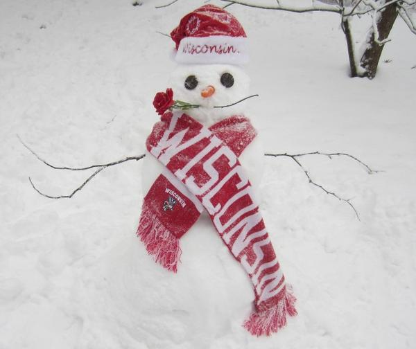 Hey @UWMadison, isn't this the cutest #Badgers snowman ever?! He's all ready for the Rose Bowl! ;) #OnWisconsin pic.twitter.com/xRBg3cyx