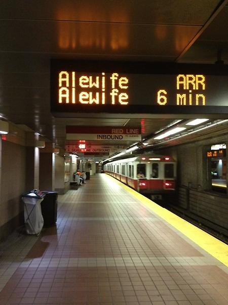 train arrival sign