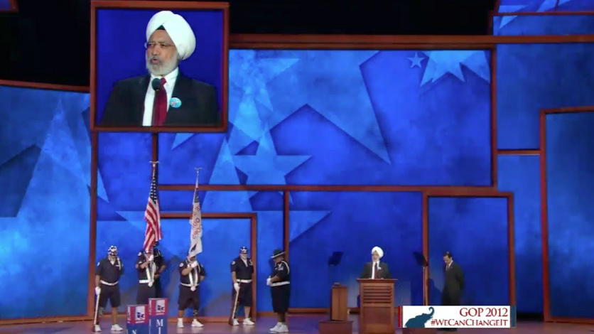 Ishwar Singh provides Invocation at Republican National Convention (source: Twitter user @duvachristopher)