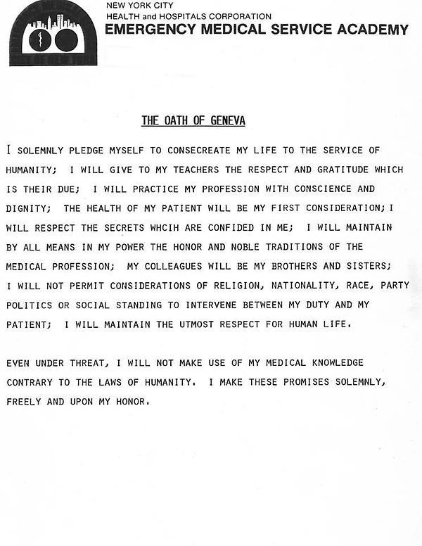"NYC EMS Watch on Twitter: ""The Oath of Geneva as ..."