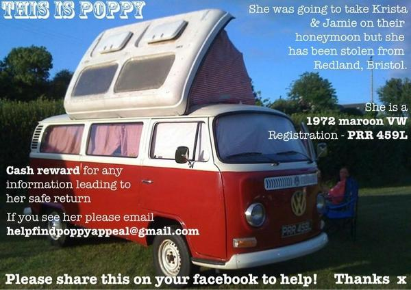 Some scumbag has nicked this VW campervan in Bristol. Contact @hamishmash if you recognise it. RT RT RT. http://t.co/gyoZ6Omg