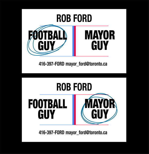 Two copies of a business card with 'FOOTBALL GUY' and 'MAYOR GUY', with different ones circled.