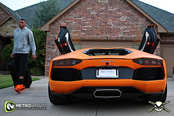 photo of Russell Westbrook Lamborghini Aventador - car