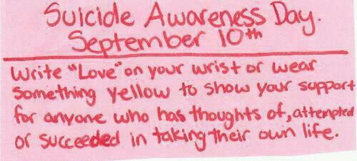 Suicide Awareness Day http://t.co/gkjkYjIn