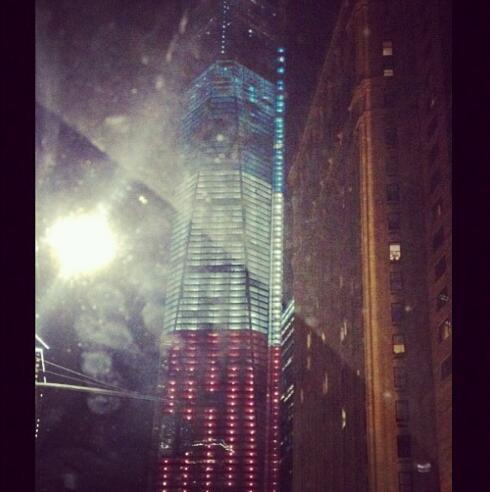 The lights are on tonight on the #FreedomTower. So beautiful. #NYC 9/11 http://t.co/KN25LDlC