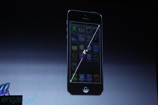 В новом iPhone 5 Retina-дислей: 4 дюйма, разрешение 1136х640. Теперь на экране помещается пять рядов иконок. http://pic.twitter.com/dyQ54oVO
