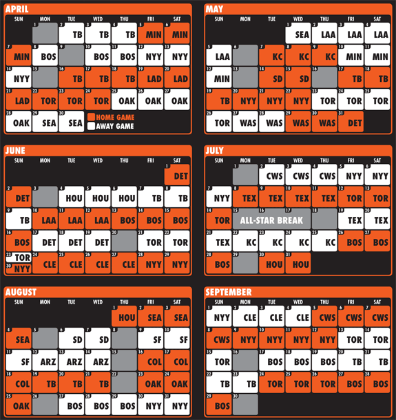 It is a picture of Orioles Printable Schedule regarding minor league