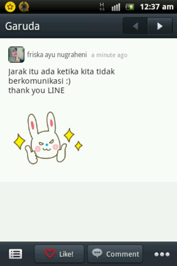 Line Artinya : No distance between us thank you line words are loud