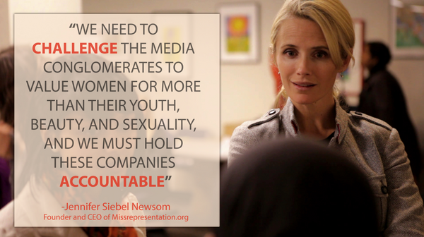 """We need to challenge the media conglomerates to value women for more than their beauty"" - @jensiebelnewsom #FreshFace http://pic.twitter.com/t5R1rUbs"