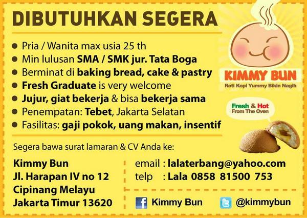 Nabila در توییتر Lowongan Kerja Baker Di Jakarta Lulus Sma Smk Tataboga Kirim Cv Ke Email Lalaterbang Yahoo Com Infobursakerja Http T Co Ujfd3cgl