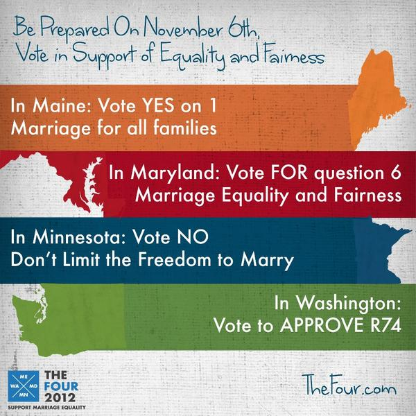 Live-Blogging Election 2012: The Marriage Equality Ballot Measures