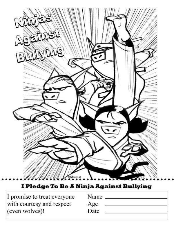 Tara Lazar On Twitter Its Anti Bullying Month Get THE THREE NINJA PIGS Your Side Free Coloring Page Tco EKWN5GTx